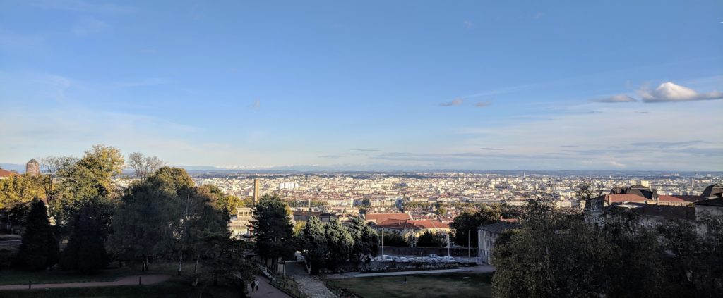 View over Lyon towards the snow-capped Alps