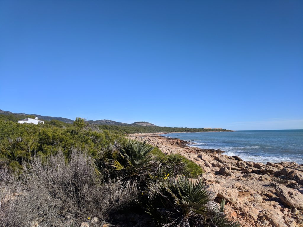 The beautiful coastline we could walk to from the campsite