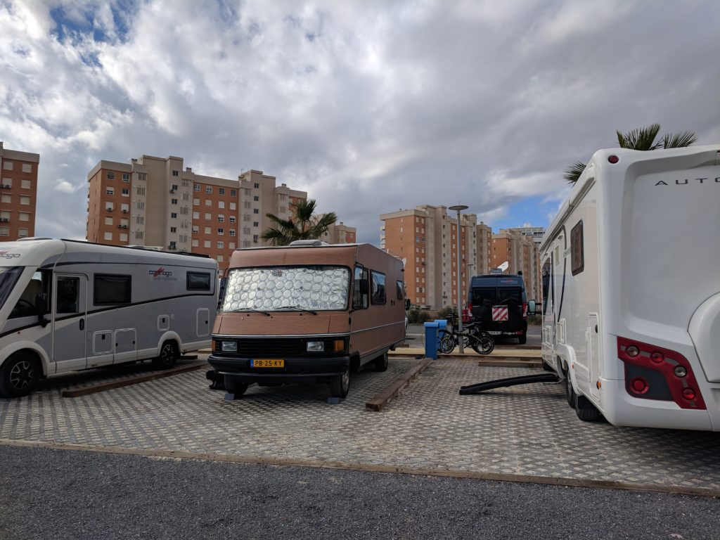 Our camper area. I was impressed by the Moho next to us with the plywood effect !
