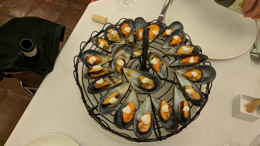 Amazing smoked, grilled mussels with aioli