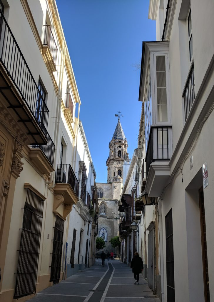 A tiled church spire at Jerez de la Frontera